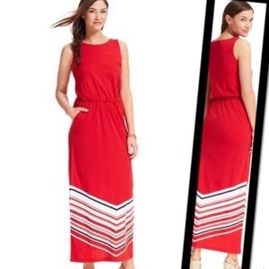 Tommy Hilfiger sleeveless maxi dress pockets red M